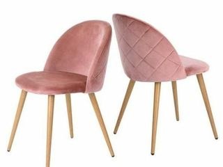 Furniture R Zomba Pink Velvet Dining Chair  Set of