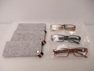 3 Pair Reading Glasses with Floral Arms  1 25