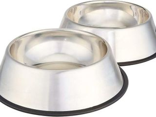 2Pc Stainless Steel Pet Dog Water And Food Bowl