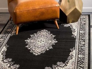 Unique loom Mashad 6  x 9  Area Rug  Black Beige