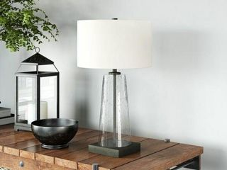 Tapered Black and Seeded Clear Glass Table lamp