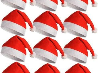 12 Santa Hats Father Christmas Red Santa Hats with