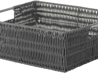 Whitmor Rattique Shelf Tote Basket   Grey
