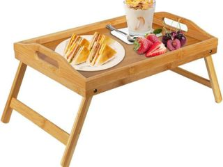 Pipishell Bamboo Bed Tray Table with Foldable