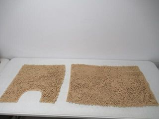 2Pc Taupe Area Shag Rugs  20x31  and 20x20