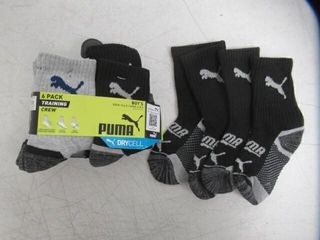 PUMA boys Crew Socks  Grey Navy  5 6 5 US