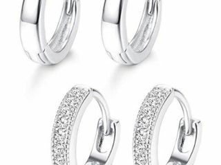 2 Pair Adramata 925 Sterling Silver Hoop Earrings