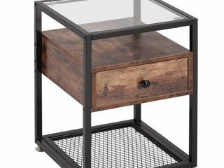 Vecelo Tempered Glass End Table