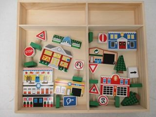 As Is  Melissa   Doug Wooden Town Play Set With