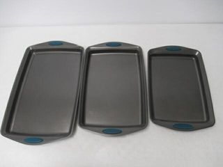 As Is  3Pc Rachael Ray Steel Baking Pan Set  Gray