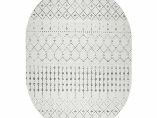 nulOOM Blythe 6 7  x 9  Oval Gray Indoor Area