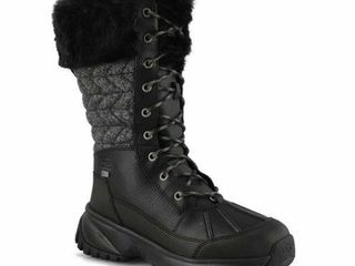 UGG Women s 8 W YOSE Tall Quilt Snow Boot  Black