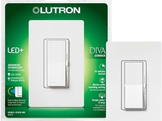 lutron DVWCl 153PH WH Diva Dimmable CFl lED Dimmer