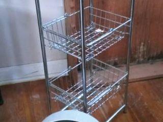 Wire basket racks with small desk fan
