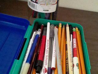 Box of pens   pencils and craft scissors