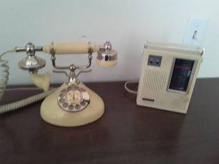 Vintage Princess telephone and a Vintage Panasonic AM radio
