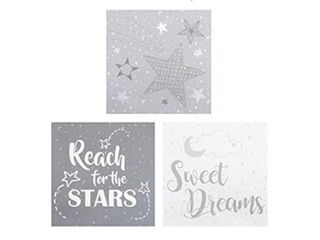 Trend lab 3 Piece Canvas Wall Art  Moon  amp  Stars 12 in x 12 in
