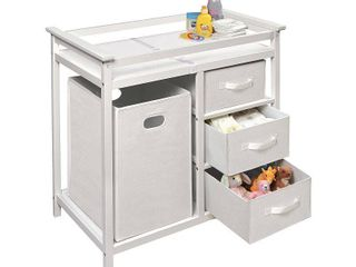 Badger Basket Modern Baby Changing Table with Hamper and 3 Baskets  White  Includes Pad