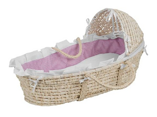 Hooded Moses Basket with liner sheet and pad
