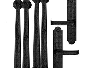 Cre8tive Hardware 6 Pack 14 in Decorative Black Magnetic Garage Door Hinge and Handle Set