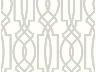 NextWall Soft Gray Deco lattice Peel and Stick Wallpaper