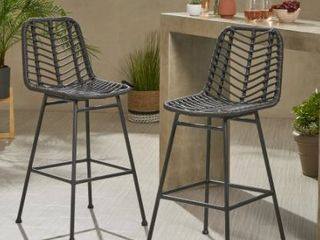 Sawtelle Outdoor Wicker Barstools  Set of 2  by Christopher Knight Home  Retail 222 49