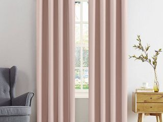 Kenneth Energy Saving Blackout Grommet Top Curtain Panel Pair  Pink   Sun Zero