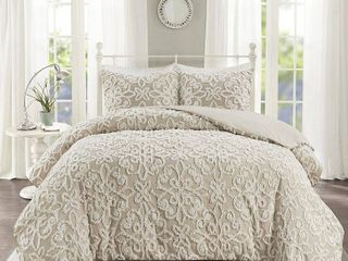 Full Queen Amber Tufted Cotton Duvet Cover Set Taupe
