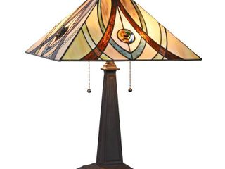 CHlOE lighting Orson Tiffany style 2 light Mission Table lamp 16 inch Shade