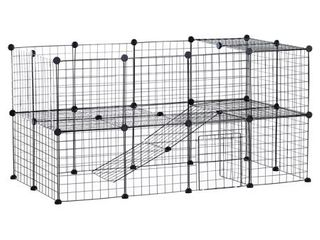 PawHut 36 Panel Pet Playpen Small Animal Cage Metal Wire Indoor Outdoor Portable   Black