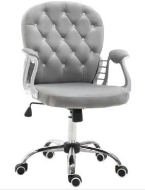 Vinsetto Vanity Middle Back Office Chair Tufted Backrest Swivel Rolling Wheels Task Chair with Height Adjustable Armrests  Retail 159 99