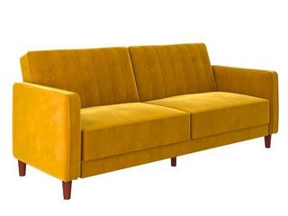 DHP Pin Tufted Sofa Bed in Velvet  Mustard Yellow  Retail 499 00