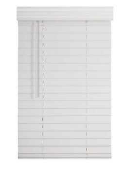 Cordless Faux Wood Blind Smooth White