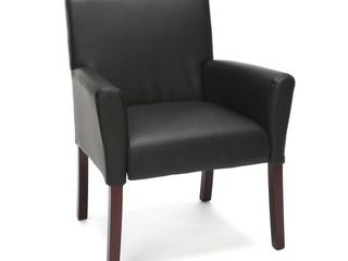 leather Executive Guest Chair with Arms and Wooden legs  Black