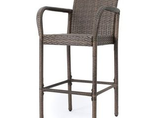 Delfina Outdoor Wicker Barstool  Set of 2  by Christopher Knight Home  Retail 412 99