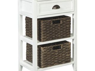 Oslember Casual White Accent Table with 2 Baskets  Retail 119 99