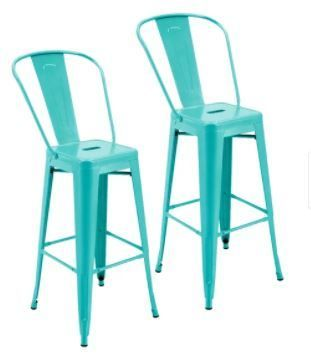 Porthos Home Ruat Resistant Metal Patio Barstool With Back  Set Of 2  Turquoise