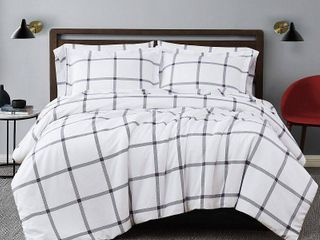 Twin Twin Xl Truly Soft Printed Windowpane 3 Piece Duvet Cover Set