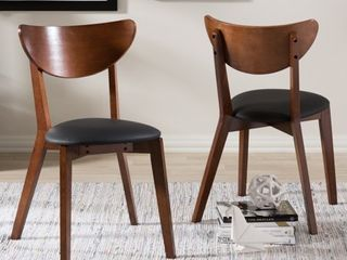 Baxton Studio Haides Mid Century Walnut Brown and Black Faux leather Dining Chairs  Set of 2  Retail 126 99