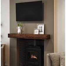 northbeam 60 in  Distressed Fireplace Wall Cap Shelf Mantel