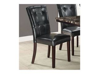leather Upholstered Dining Chair Set Of 2  Black