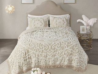 King California King 3pc Cecily Tufted Cotton Coverlet Set Taupe