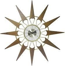 Infinity Instruments Nova Mid Century Modern Gold Wood 30 5 inch large Wall Clock   Wood   Metal Mid Century Modern look   Vintage Retro Design   Quartz Movement Unique Starburst Nova look