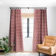PAIR OF Sharon Turner Chilli Pestle Blackout Curtain Panel Retail 81 48