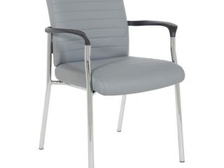 Charcoal  Guest Chair with Faux leather and Chrome Frame Retail 139 49