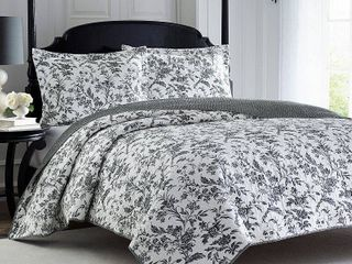 Full Queen laura Ashley Amberley Black Floral Cotton 3 piece Quilt Set  Retail 101 99