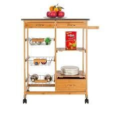 Carson Carrington Dalur Rolling Wooden Trolley Kitchen Cart w drawers Retail 78 98
