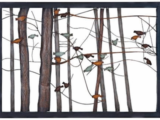 Birds on Branches Metal Tree Trunk Sculpture Retail 126 49