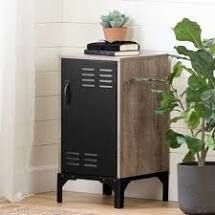 Valet Industrial Weathered Oak and Black End Table with Metal Door