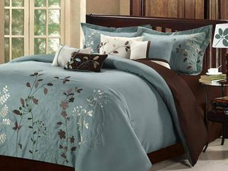 Chic Home 21CK103 US Bliss Garden Embroidered Comforter Set   Sage   King   8 Piece